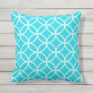 Aqua Blue Outdoor Pillows - Circle Trellis