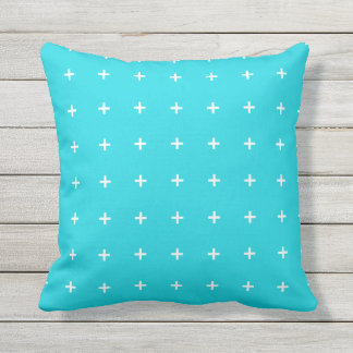 Aqua Blue Outdoor Pillows - Cross Pattern