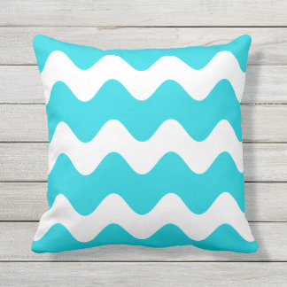 Aqua Blue Outdoor Pillows - Wave Pattern
