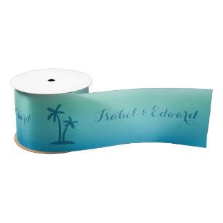 Aqua Blue Palm Tree With Custom Names Wedding Satin Ribbon