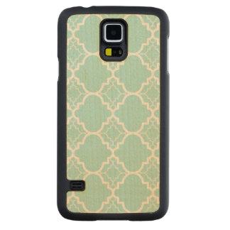 Aqua Blue Quatrefoil Geometric Pattern Maple Galaxy S5 Case