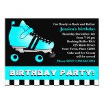 Aqua Blue Roller Skate Birthday Party 13 Cm X 18 Cm Invitation Card
