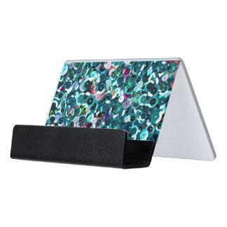Aqua Blue Sequin Sparkles All Over Print Desk Business Card Holder