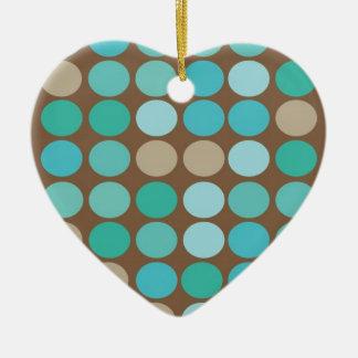 Aqua Blue Teal & Brown Dots Modern Ornament