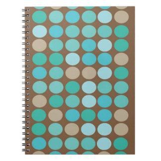 Aqua Blue Teal & Brown Dots Modern Pattern Notebook
