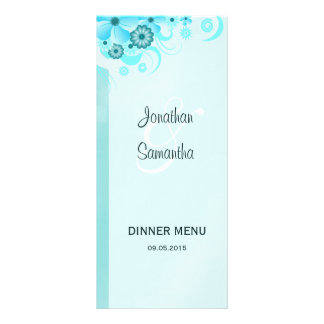 Aqua Blue Teal Floral Wedding Dinner Menu Card Rack Card Design