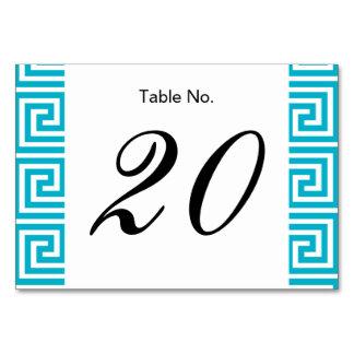 Aqua Blue White Greek Key Pattern Table Cards