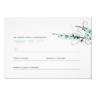 Aqua Cherry Blossoms Sakura Swirls Wedding RSVP 9 Cm X 13 Cm Invitation Card