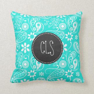Aqua Color Paisley; Floral; Retro Chalkboard Throw Pillow