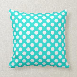 Aqua Color Polka Dots Throw Pillow
