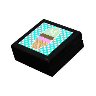 Aqua Color Polka Dots; Ice Cream Cone Gift Box