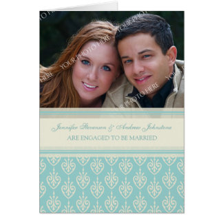 Aqua Cream Engagement Photo Announcement Card