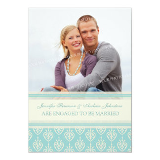 Aqua Cream Photo Engagement Announcement Cards