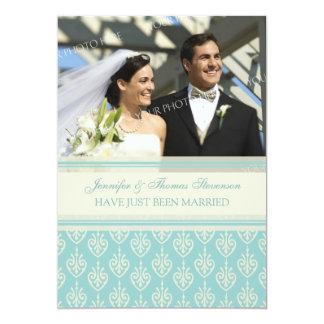 Aqua Cream Photo Just Married Announcement Cards