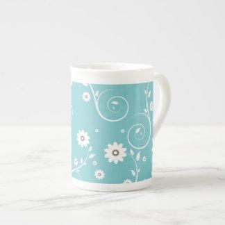 Aqua Floral Bone China Mug