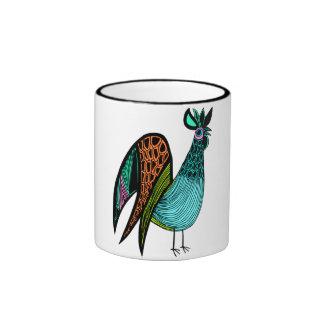 Aqua Folk Art Rooster Mugs