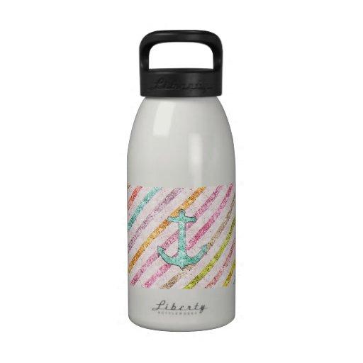 Aqua Glitter Nautical Anchor Girly Rainbow Stripes Reusable Water Bottles