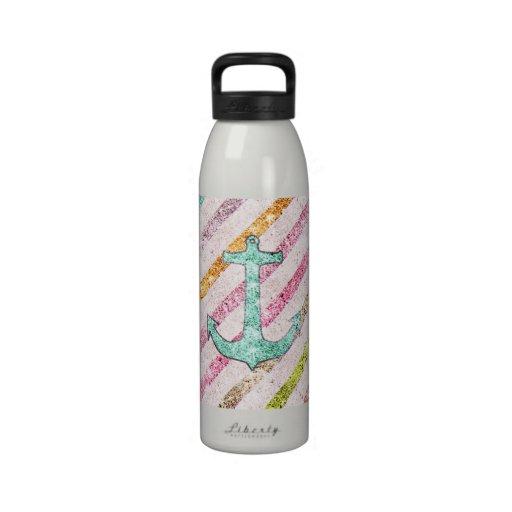 Aqua Glitter Nautical Anchor Girly Rainbow Stripes Drinking Bottle