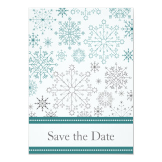 aqua gray snowflake winter wedding save the date card