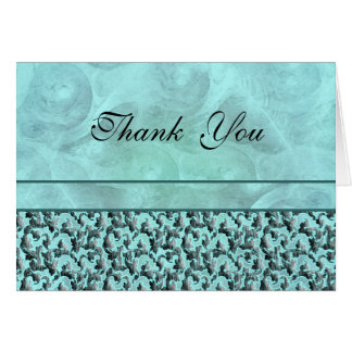 "Aqua gray ""thank you"" wedding damask card"
