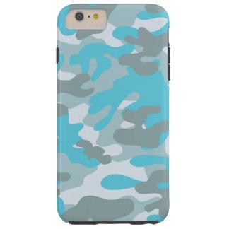 Aqua Gray White Camo Design Tough iPhone 6 Plus Case