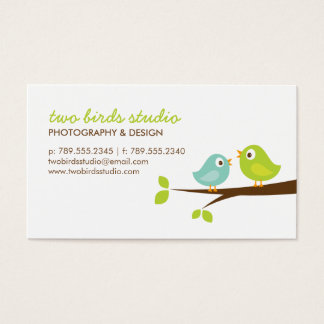 Aqua & Green Cute Birds on a Branch Business Card