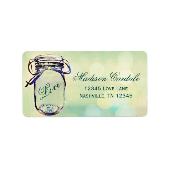Aqua Green Mason Jar Wedding Return Address Labels