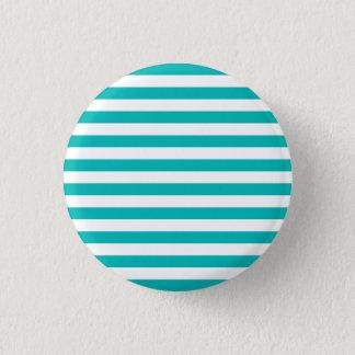Aqua Horizontal Stripes 3 Cm Round Badge