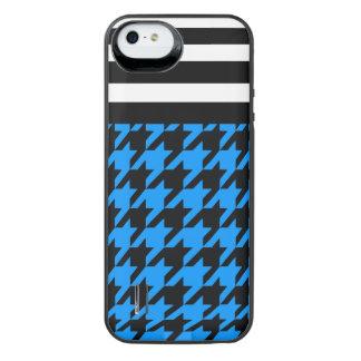 Aqua Houndstooth w/ Stripes 2 iPhone SE/5/5s Battery Case