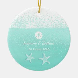 Aqua mint green watercolor sand dollar starfish christmas ornament