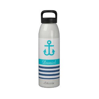 Aqua Navy Nautical Theme Water Bottle