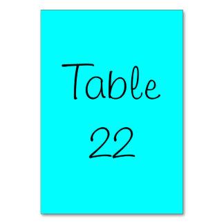 Aqua Numbered Table Card
