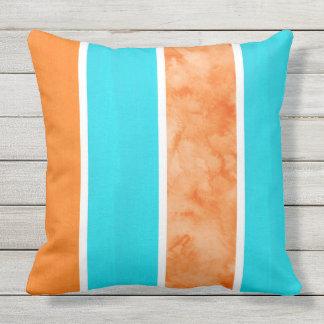 Aqua Orange Bold Stripes Outdoor Cushion