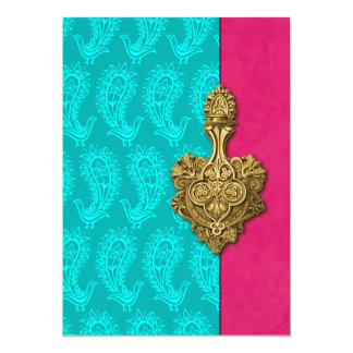 Aqua Paisley Peacocks Indian Wedding Invitation