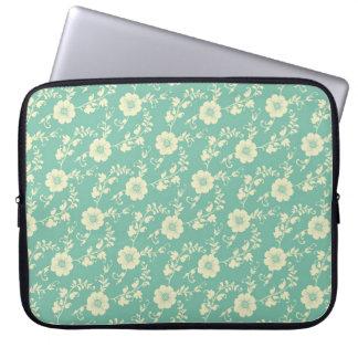 Aqua Pastel Blue Vintage Floral Print Pattern Laptop Sleeve