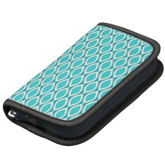 Aqua patterned mini folio organizer