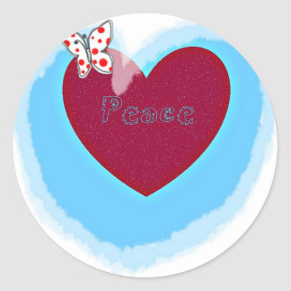 aqua Peace Heart gifts Round Sticker