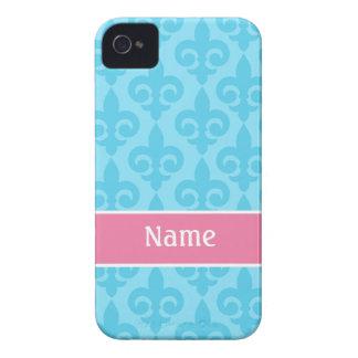 Aqua Pink Fleur de Lis iPhone 4/4S Case