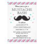 Aqua pink girls moustache bash birthday party invites