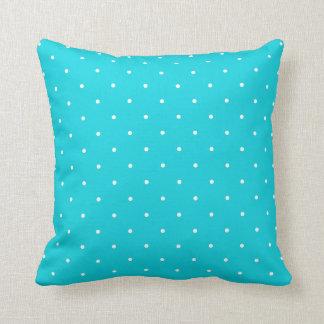 Aqua Polka Dot Throw Pillow