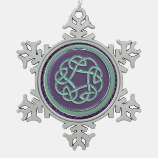 Aqua Purple Celtic Knot Christmas Ornament