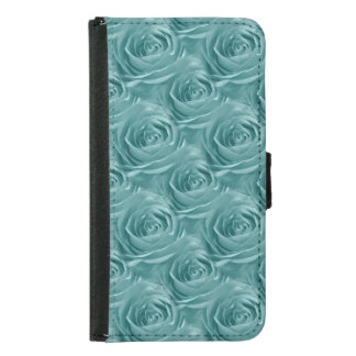Aqua Rose Center Abstract Floral Photo Pattern Samsung Galaxy S5 Wallet Case