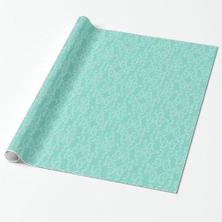Aqua Sea Blue Damask Wrapping Paper