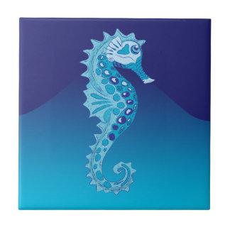 Aqua Seahorse Small Square Tile