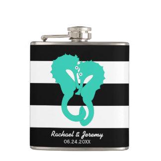 Aqua Seahorses on Stripes Couple's Personalized Hip Flask