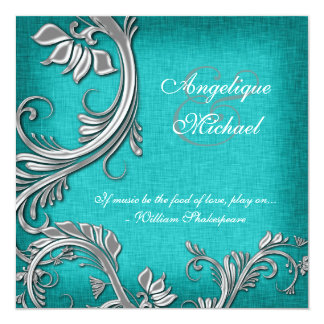 Aqua silver floral wedding engagement card