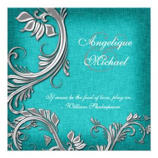 Aqua silver floral wedding engagement custom announcements