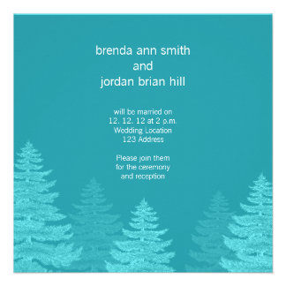 Aqua Spruce Trees Winter Wedding Invitation