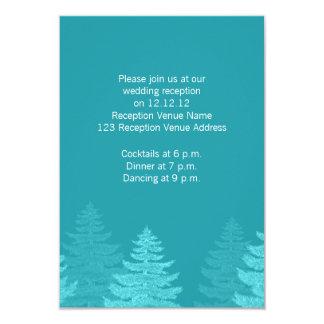 """Aqua Spruce Trees Winter Wedding Reception Card 3.5"""" X 5"""" Invitation Card"""