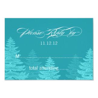 Aqua Spruce Trees Winter Wedding RSVP Card 9 Cm X 13 Cm Invitation Card
